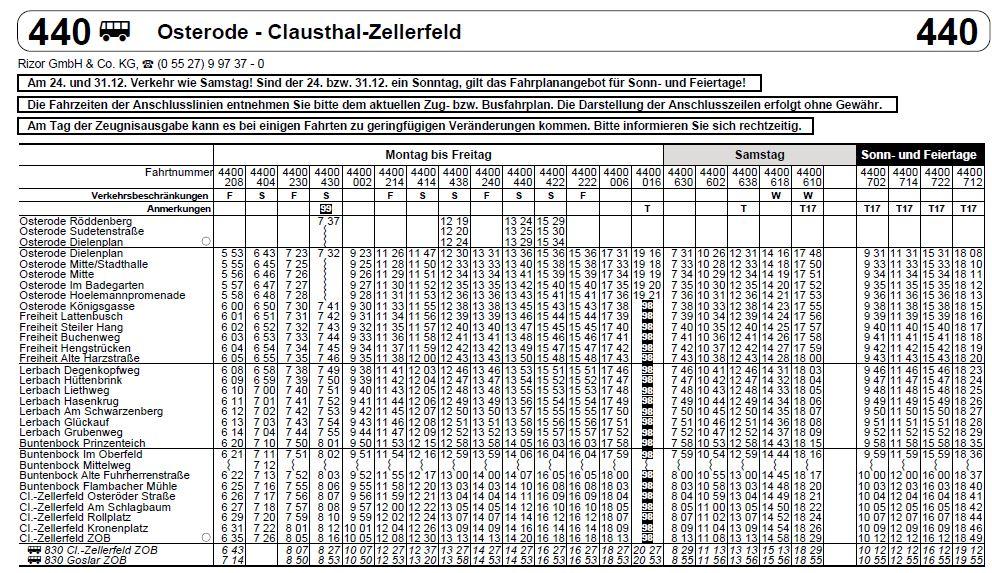 Bus linie 440 Fahrplan Osterode zu C.Z.